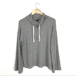 Lucky Brand Drawstring Cowl Neck Sweater Stripe B8